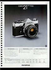 Factory 1978 Olympus Zuiko 21mm F3.5 Camera Lens Dealer Data Sheet Page