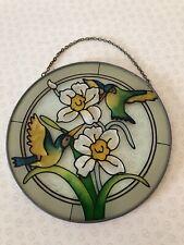 Vintage 6'' Diameter Round Humming Bird & Narcissus Daffodil Flower Sun Catcher