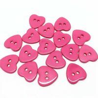 20 bouton scrapbooking coeur rose fuchsia mercerie couture 15mm couture 2 trou
