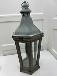 "Pottery Barn ~ Park Hill ~ Wooden Antique Indoor/Outdoor Lantern ~ 22"" High ~NEW"