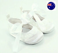 Baby Shower Girls Kids Christening Ballet White Lace Adorable Soft Gem Shoes