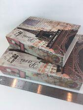 2 Decorative Paris Faux Book Box Secret-Stash Storage Canvas Over Wood