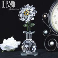Cut Glass Ornaments Clear Crystal Sun Flower Figurines Mother Gift Wedding Decor