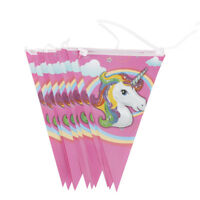 10x Unicorn Flags Hanging Paper Flags Banner Garland For Birthday Party Decor FO