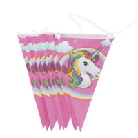 10x Unicorn Flags Hanging Paper Flags Banners Garlands For Birthday Party Decors
