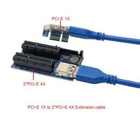 PCIE PCI-Express X1 to Dual 4X Adapter Extension cable Riser Cable PCIe x4 x8x16