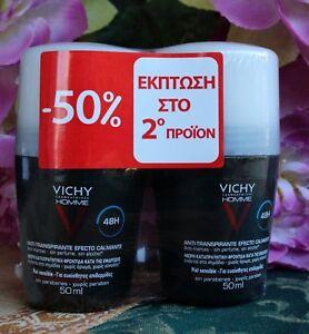 Vichy Homme Deodorant Anti-Transpirant Roll-On 48h Men 2x50ml