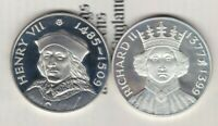 HENRY VII 1485-1509 & RICHARD II 1377-1399 HALLMARKED SILVER MEDALS WITH CERTS