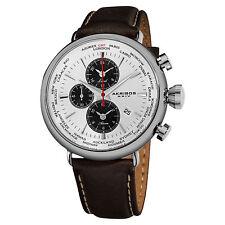 New Men's Akribos XXIV AK629WT World-Time Alarm Brown Genuine Leather Watch
