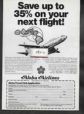 ALOHA AIRLINES BOEING 737-200 & ROUTE MAP 1988 SAVE 35% ON NEXT FLIGHT AD