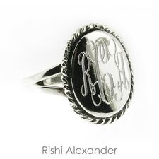 925 Sterling Silver Monogram Engravable Oval with Thick Rope Edge Signet Ring