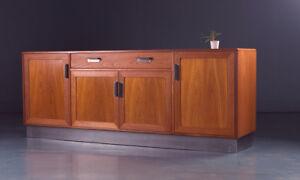 G plan Mid Century 1970s  Large Teak Sideboard Cabinet  Steel Industrial