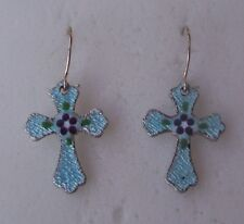 Vintage Fancy Cross Earrings Guilloche Enamel -Sterling Silver Wire- Blue/Purple