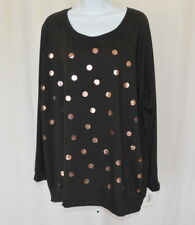 MOA MOA NEW Womens Black w/Goldtone Printed Circles Long Sleeve Knit Top Size 3X