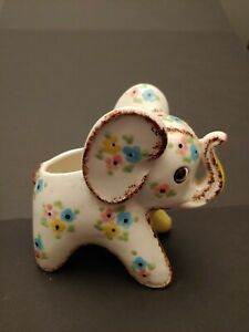 Vintage Floral Elephant Planter---Trunk Up With Pink/Blue/Yellow Flowers--- MCM