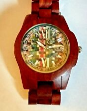 EARTH Wood Mosaic Dial Redwood Bracelet Watch Large Unisex New in Box