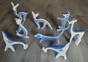 Lot of 8 Royal Dux Bohemia Porcelain Animals Modernist Blue and White MCM