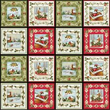 """23"""" Fabric Panel ~ Red Rooster Christmas Bells Jennifer Chiaverini Holiday Gold"""