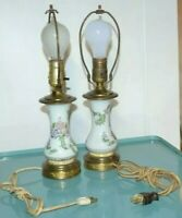 VINTAGE PORCELAIN HAND PAINTED TABLE LAMP BRASS BASE LOT OF 2