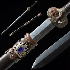Hand Forged pattern steel Dragonsoul Sword Carved Pure copper Fittings #5001