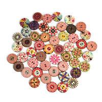 50pcs Mixed Vintage Wood Handmade 2 Holes Wooden Button Sewing Scrapbooking DIY❤