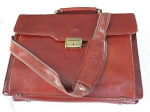 Mancini Leather Briefcase Laptop Bag Flap Over, Shoulder Strap Burgundy
