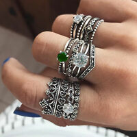 12 pcs Ring Set Bohemian Boho Punk Ethnic Vintage Festival Silver Rings Jewelry