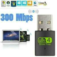 300Mbps 2.4-5ghz USB Dual Band Wireless Adapter WiFi Dongle 802.11 AC Laptop--UK
