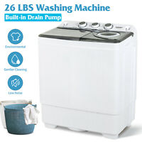 26 LBS Portable Washing Machine Compact Twin Tub Laundry Spin Dryer w/Drain Pump