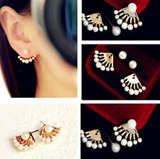 New Fashion Women Crystal Pearl Gold Plated Ear Stud Front and Back Earrings