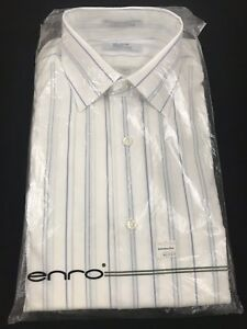 Enro Dress Shirt White Blue Yellow Striped Spread Collar Cotton Blend Size 16-34