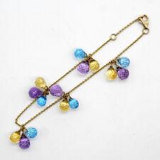 Amethyst Citrine Sky Blue Topaz Triple Drop Charm Bracelet 18KT Yellow Gold
