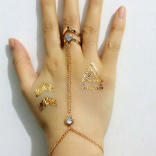 Hot New Fashion Women's Lady Crystal Finger Ring Hand Chain Bracelet Jewelry