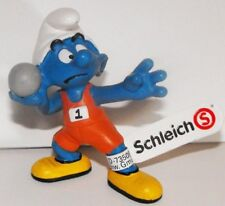 20742 Shotputter Smurf Plastic Figurine 2012 Olympic Sports ShotPut Track Smurfs