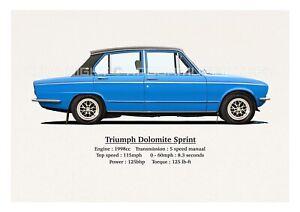 TRIUMPH DOLOMITE SPRINT ART PRINT. CLASSIC. LIMITED EDITION (40.) 420mm x 297mm.