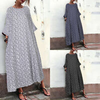 ZANZEA Women Long Batwing Sleeve Polka Dot Shirt Dress Oversize Midi Dress Plus