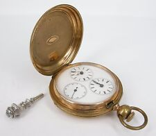 Rare C1880 Teffany Bros. & Co. Geneva Sterling Dual Zone Pocket Watch Fine Key