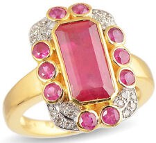 Victorian Look 925 Silver Cocktail Ring 2.10cts Rose Cut Diamond Ruby Antique
