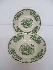 """Vintage Mason's Fruit Basket green pattern - 4 x 6"""" soup or cereal bowls"""