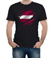 Torn Latvia Flag Men's T-Shirt Latvian Riga Country national football