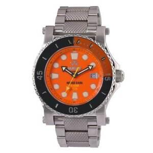 Reactor Men's Polaris Watch Quartz Orange Dial Stainless Steel Bracelet 42008