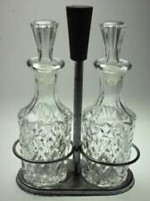 2 Piece Glass Cruet Set with Stoppers Made in Japan with Stand SA285