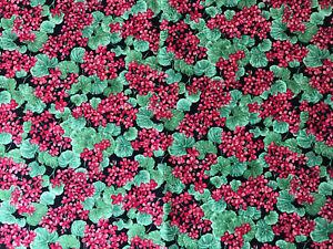 Patchworkstoff von Hoffman, Geranien, rot,  25 x 112 cm, neu