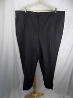 Hart Schaffner Marx Black Pinstripe Wool Pants Slacks Men's 44 x 27