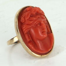 Antique Deco Coral High Relief Cameo Cocktail Ring Vintage 14k Yellow Gold