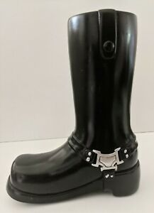 "Burton & Burton Black Resin Motorcycle Boot Vase Decor 8"" Tall"