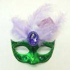 MARDI GRAS Mask Clip-On Ornament Tree Party Decor Green with Purple Feathers