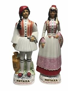 "Vintage Metaxa Greek Ceramic Decanters Male Female Set Empty Statues 19"""