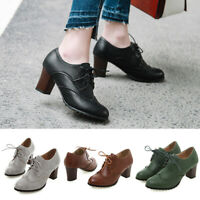 Womens Oxfords Brogue Wingtip Lace Up Chunky Block High Heel Shoes Dress Pumps