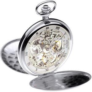 Sterling Silver Skeleton Pocket Watch Full Hunter 17 Jewel Mechanical Movement